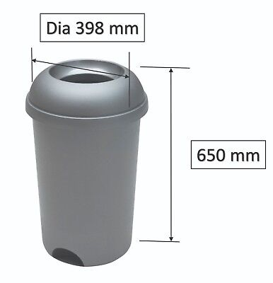 Addis Smart Capacity 50L Plastic Round Bin (Metallic Grey) With Open Lid • 35£