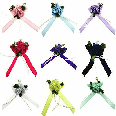 RIBBON BOWS With ROSE CLUSTER , STRING BEADS , STAMENS And CONTRASTING LEAVES • 3.99£