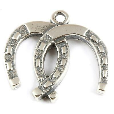 Double Horseshoe 925 Sterling Silver Charm - Wedding Lucky Horse Riding • 11.25£