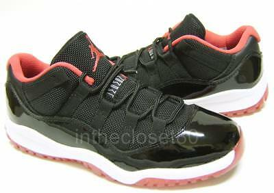 0075d928a74 Nike Air Jordan 11 Retro Bred Low Black Red Boys Girls Trainers 505835 012  • 132.75