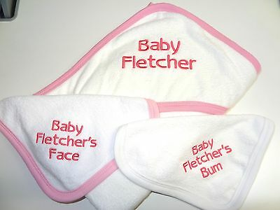 Personalised Baby Hooded Towel Set -perfect Gift For Newborn - Embroidered Quick • 12.99£