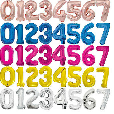 34  Giant Foil Number Balloons Air Helium Glitz Large Birthday Party Wedding • 2.19£