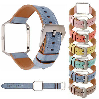 $ CDN17.24 • Buy Metal Frame Cover Colorful Leather Belt Watch Band For Fitbit Blaze Wrist Strap