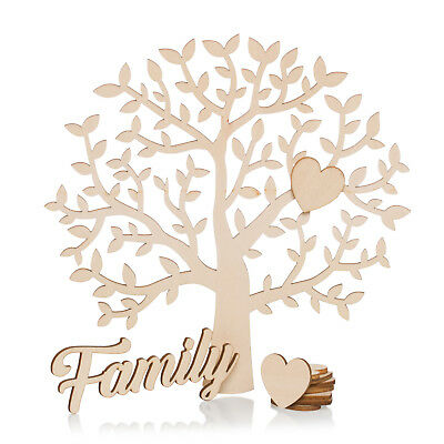 Family Tree Set Blank With Wooden Hearts Wood Family Plaque Craft Shape 20cm • 6.50£