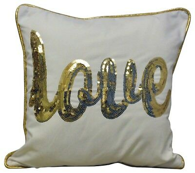 Home Decor Sequinned Gold Love Logo Sofa Cushion Pillow Accessory 45cm X 45cm • 16.99£