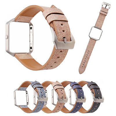 AU16.85 • Buy Metal Frame Cover Jeans Fabric Style Genuine Leather Strap Band For Fitbit Blaze