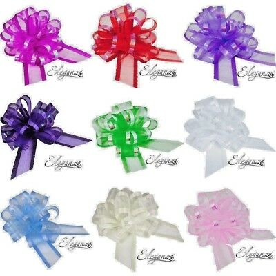 50 Mm Luxury Quality Organza Pull Bow By Eleganza Wedding Gift Pew Bows Party • 1.49£