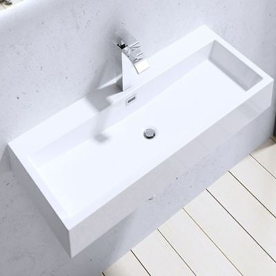 £79.95 • Buy Durovin Bathrooms White Sink Wall Hung Countertop Stone Resin Basin Only 765mm