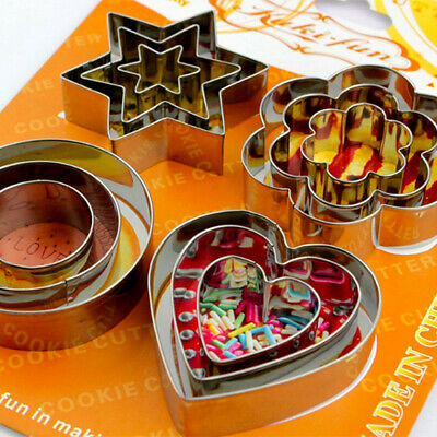 Cookie Biscuit Cutter Star Heart Flower Round Stainles Steel Pastry Baking Mould • 3.99£