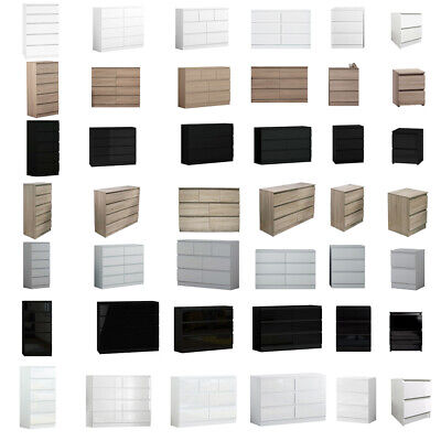 Modern Matt Gloss Chest Of Drawers & Bedsides.White/Black/Oak/Grey.Various Sizes • 130£