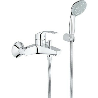 Grohe Eurosmart Bath Mixer Shower Tap Hose Handset Single Lever Chrome 33302002 • 94.64£