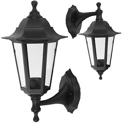 Wall-Mounted Outdoor Lantern Style Lamp Garden Light 250x165 Black • 11.95£