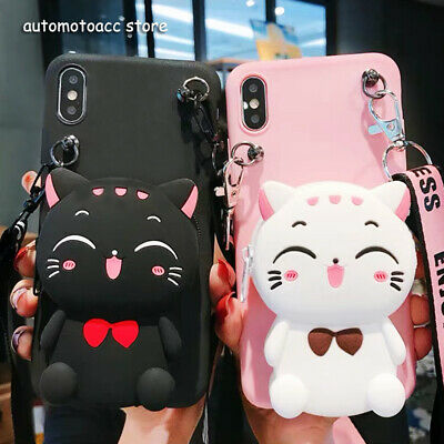 AU7.01 • Buy Cartoon Cat Wallet Coin Purse Bag Case Crossbody For IPhone 11 Pro XS MAX 6/7/8+