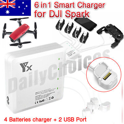 AU56.36 • Buy 6 In 1 Dual USB Multi Battery&Transmitter Fast Charger For RC DJI SPARK Drone AU