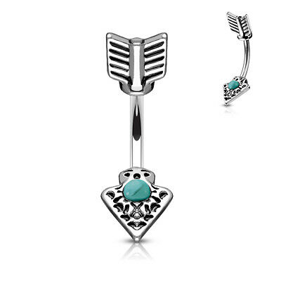 £3.29 • Buy Turquoise Set Tribal Arrow 316L Surgical Steel Belly Bar / Navel Ring