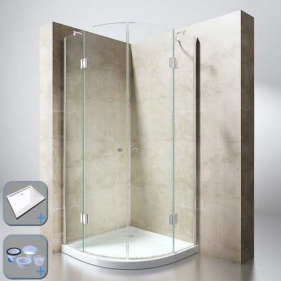 Durovin Shower Enclosure Cubicle And Tray Quadrant Glass Door Hinged Clear 8mm • 275£