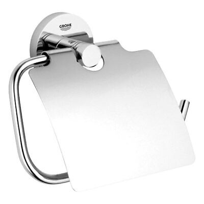 Grohe Essentials Bathroom Toilet Roll Holder With Cover Chrome Modern 40367001 • 25.68£