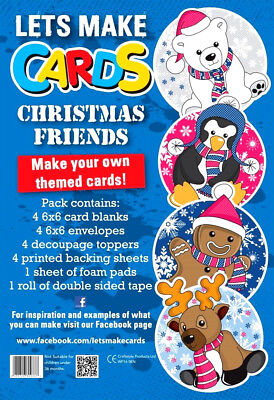 Lets Make Cards COMPLETE Kit Childrens Cut & Create Decoupage CHRISTMAS FRIENDS • 4.99£