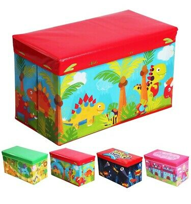 Kids Toy Box Boys Girls Books Holder Chest Ottoman Clothes Storage Stool Lid • 11.49£