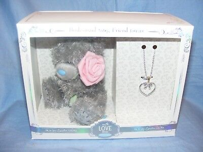 Bridesmaid Gift Me To You Wedding Day Bear And Necklace NEW AGZ01008 • 17.95£