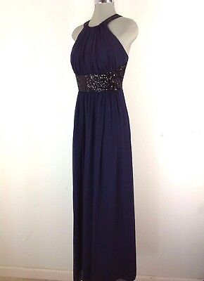 £41.16 • Buy Calvin Klein NEW WT Red Carpet NAVY Formal Dress Black Sequins Accents Size 14