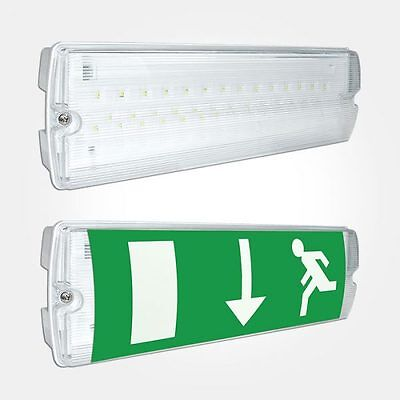 LED EMERGENCY LIGHT BULKHEAD EXIT SIGN IP65 MAINTAINED/NON MAINTAINED £9.99+vat • 11.99£
