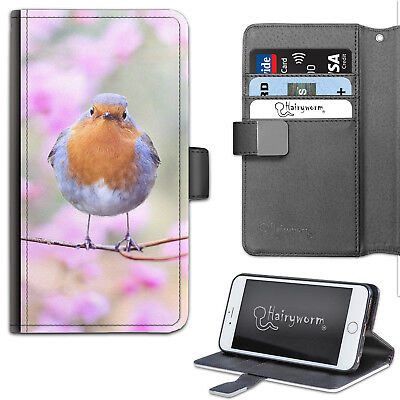 AU21.65 • Buy Pink Flower Robin Phone Case, PU Leather Wallet Case, Cover For Samsung, Apple