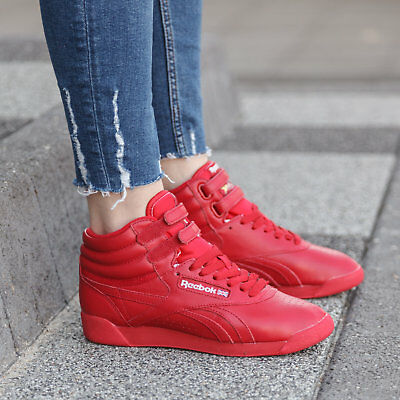 8d3602697cff Reebok FREESTYLE HI OG LUX RED LEATHER SNEAKERS Womens Trainers Reebok  Classic • 76.46