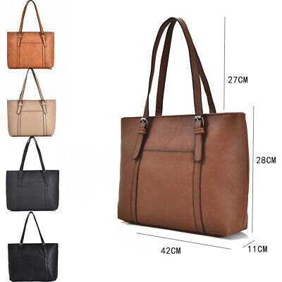 New Women's Large Designer Style PU Leather Tote Shopper Hand Bag • 10.99£