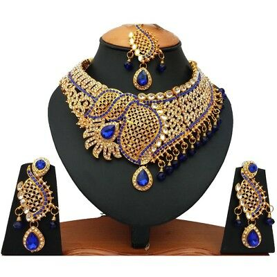 $32.99 • Buy Indian Bollywood Style Fashion Gold Plated Bridal Jewelry Necklace Set, RNS 022