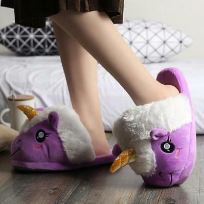 AU25.99 • Buy Unicorn Adult Character Purple Lady Winter Slippers - One Size 28cm