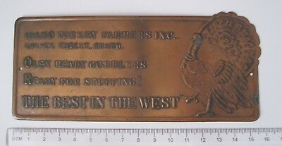 Idaho Turkey Farmers Inc The Best In The West, Copper Metal Advert Sign Plaque • 29.99£