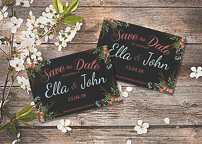 AU9.27 • Buy 10 Personalised Wedding Vintage Save The Date Magnets With Envelopes
