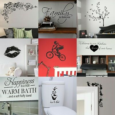 VINYL WALL STICKERS! Interior Home Art Decor Quote Removable Decal Transfer UK • 0.99£