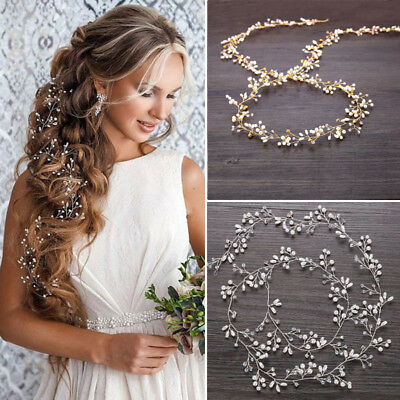 $ CDN11.55 • Buy 59  Long Wedding Hair Vine Crystal Pearl Headband Bridal Accessories Gold Silver