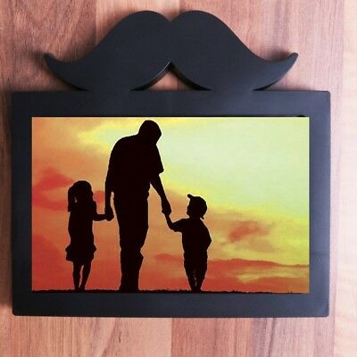4  X 6  BLACK MOUSTACHE PICTURE FRAME Fathers Day Dad Boyfriend Birthday Gift • 4.06£