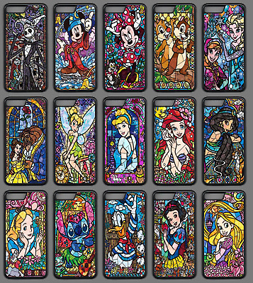 AU9.34 • Buy STAINED GLASS DISNEY CHARACTER Phone Case Cover Black IPhone 4 5 SE 6 7 8 Plus