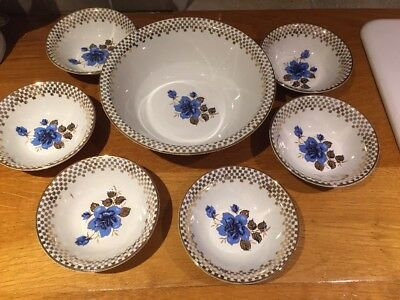 £14.95 • Buy Vintage Barratts Of Staffordshire Delphatic White Dessert Bowl & 6 Small Bowls
