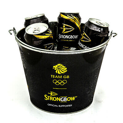 Strongbow Black Metal Ice Bucket Party Drink Holder Cooler Home Bar Pub 5 Cans • 8.39£
