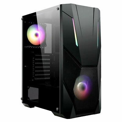 CIT Master Gaming Mid ATX PC Computer Case 2x RGB Ring LED Fan Tempered Glass • 39.99£