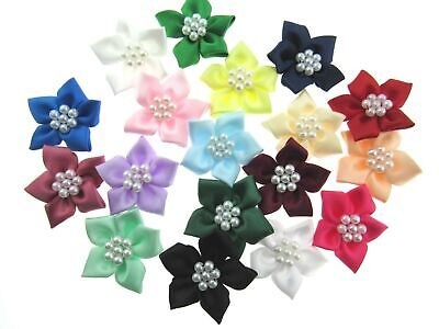** Pearl Cluster Poinsettia Satin Ribbon Bows - Card Making Embellishments • 2.49£