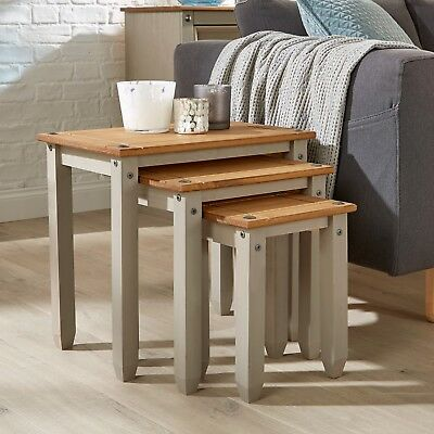 £49.99 • Buy Corona Grey Pine Nest Of Tables Set Of 3 Occasional Coffee Side Table Mexican