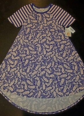$ CDN31.47 • Buy LuLaRoe Pattern Mixed Carly ~XS~ Striped Sleeves/Feathered Body! PINK/BLUE NWT!