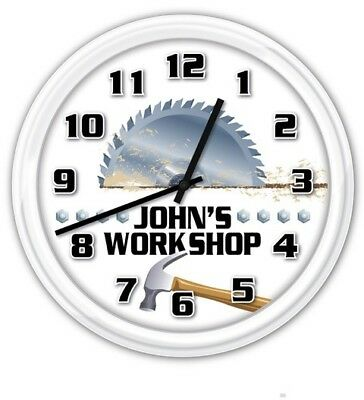 Workshop Wall Clock - Carbide Blade Home Garage Woodshop Tools Projects DIY GIFT • 21.01£