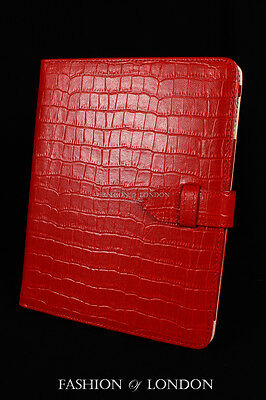 $45.91 • Buy IPad 2 3 & 4 (Red Crocodile) Real Leather Croc Print Cover Case Stand Folio