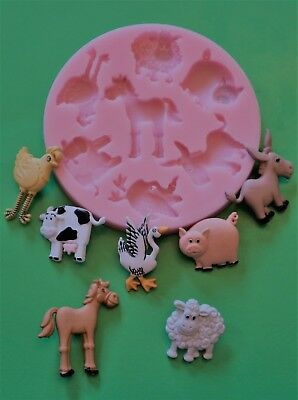 Farm Animals Silicone Mould For Cake Toppers Choc Clay Etc • 6.99£