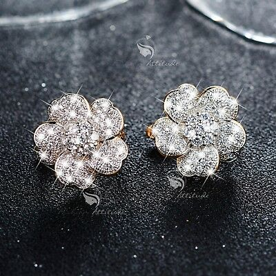 AU21.99 • Buy 18k Yellow Gold Gf Made With SWAROVSKI Crystal Huggies Flower Earrings