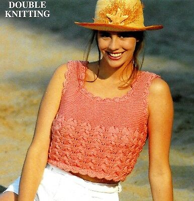 Ladies Cropped Top With Crochet Edging Knitting Pattern 30 -40  DK 329 • 2.45£