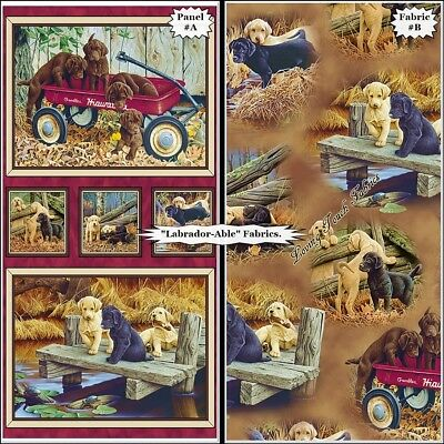 Qt  Labrador-able  Labrador Retriever Puppies Dogs Fabrics- (selection) • 8.60£