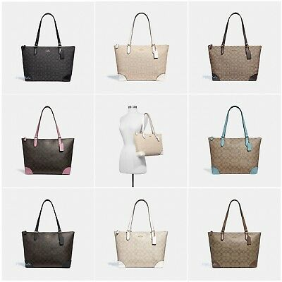 New Coach F29958 F29208 Zip Top Tote In Signature Shoulder Bag Purse •  99.99  4abc3d25c388f